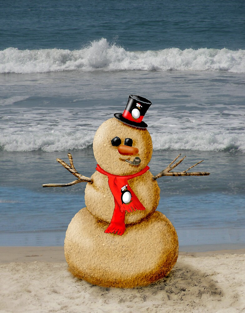 Sand Snowman at the beach! by graphicdoodles