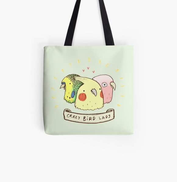 Crazy Bird Lady All Over Print Tote Bag