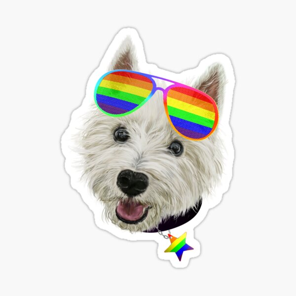 Gay Pride Westie LGBT Dog Sunglasses Sticker