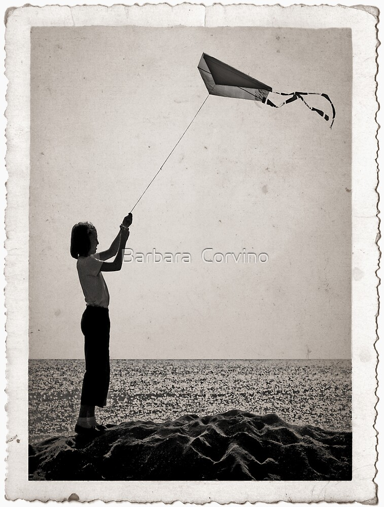 """""""The little girl with the kite""""  by Barbara  Corvino"""