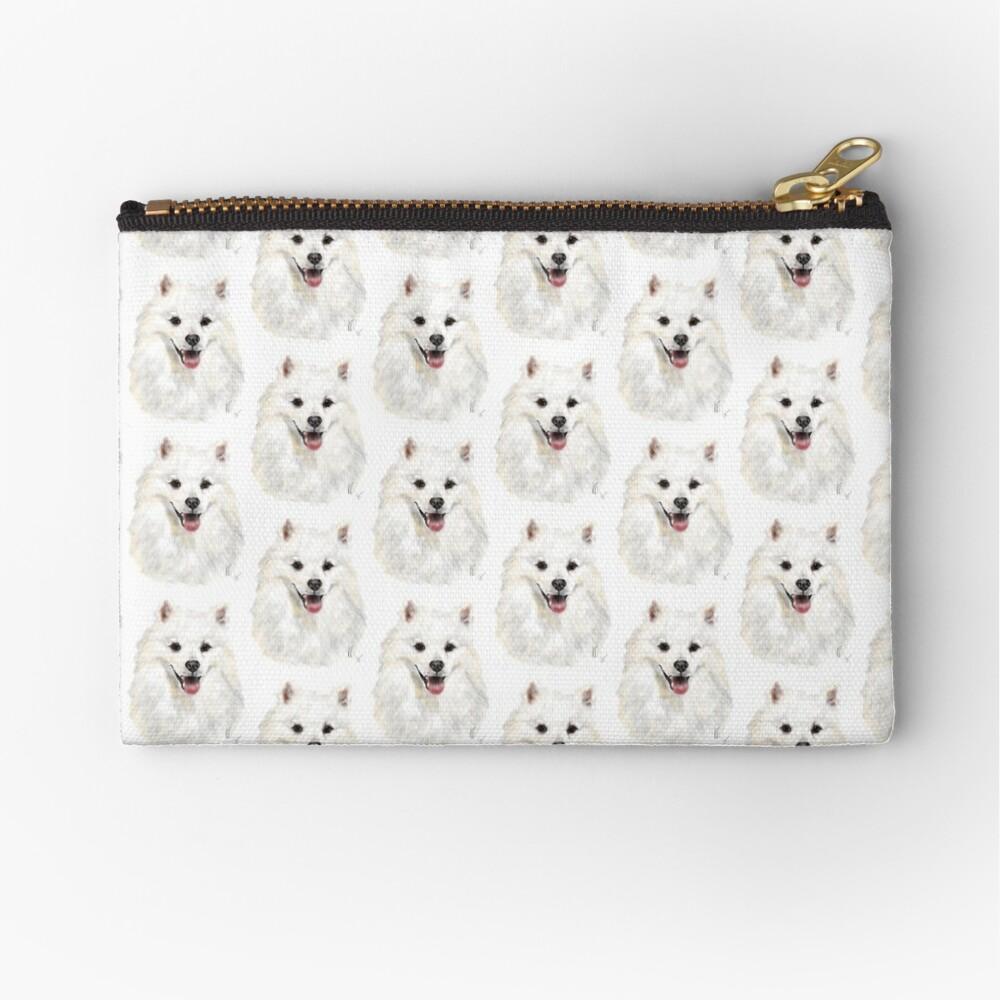 Happy Smiling American Eskimo Dog  Zipper Pouch