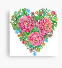 peony flowers and decoration of leaves and branches in heart shape Canvas Print