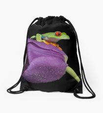 Red eyed tree frog on purple tulip 3 Drawstring Bag