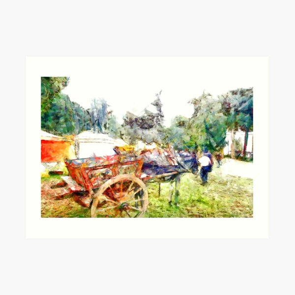 Donkey with sicilian cart Art Print