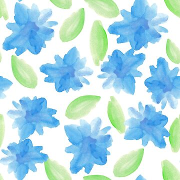 pattern with abstract watercolor blue flowers and leaves by lisenok