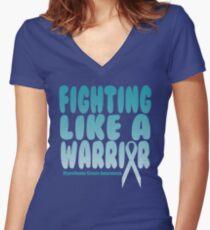 Fighting Like a Warrior! Myasthenia Gravis Awareness Quote  Women's Fitted V-Neck T-Shirt