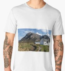 Buachaille Etive Mhor and Lagangarbh Cottage, Glencoe, Lochaber, Scotland Men's Premium T-Shirt