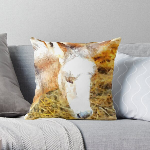 Muzzle of donkey puppy Throw Pillow