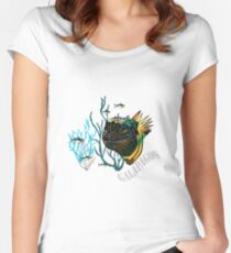 Galapagos Marine Iguana and fish Women's Fitted Scoop T-Shirt