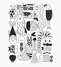 Doodle black & white funny fish pattern Photographic Print