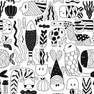 Doodle black & white funny fish pattern by Anna Alekseeva