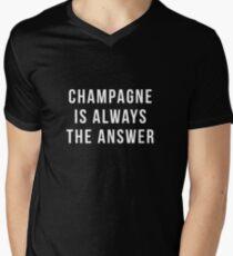Champagner ist immer die Antwort T-Shirt mit V-Ausschnitt