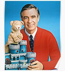 Mr. Rogers und Daniel Striped Tiger Illustrated Poster