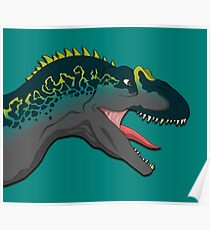 Blue and Yellow Allosaurus Poster