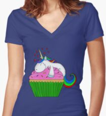 Unicorn Cupcake Women's Fitted V-Neck T-Shirt