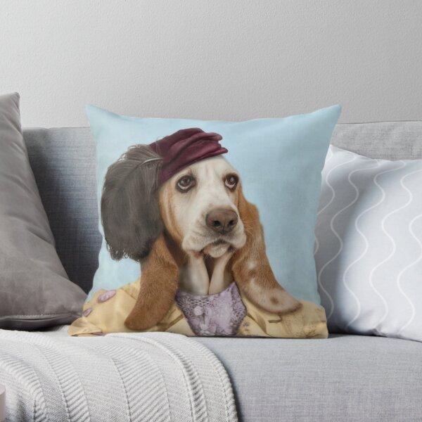 Vintage Basset Hound  Throw Pillow
