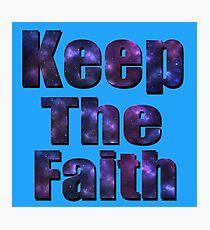 Blue Nebular Keep The Faith Logo, Photographic Print