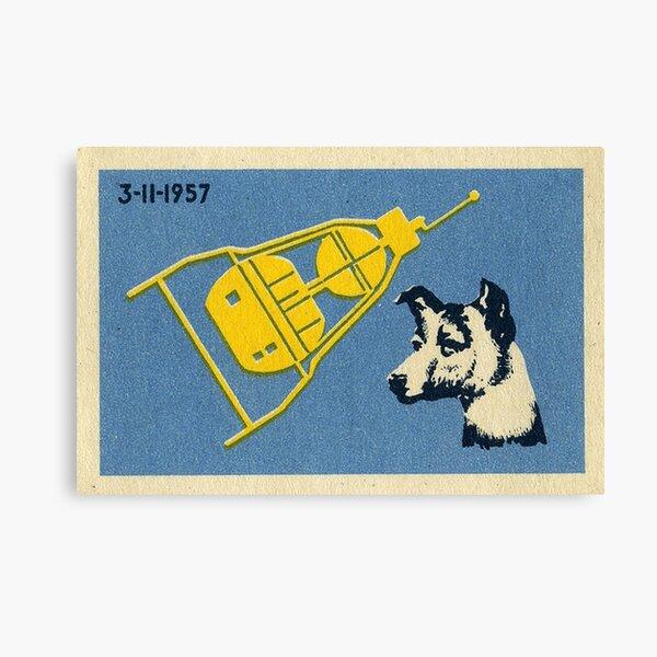 Sputnik 3 & Laika the dog - Soviet Space Art  Canvas Print