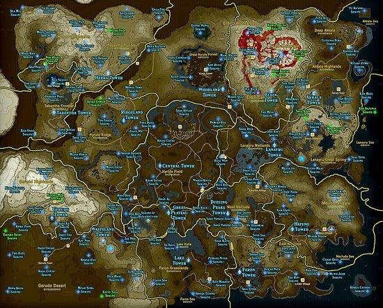zelda alle schreine karte Zelda BOTW Schrein Karte