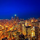 Aerial View Of The Chicago Skyline As Night Falls - Gold And Blue by Mark Tisdale