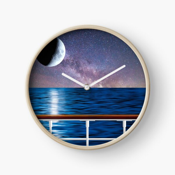 Moon Over The Sea Travelling with Bruce Logo Clock
