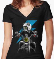 Biker Cat Women's Fitted V-Neck T-Shirt