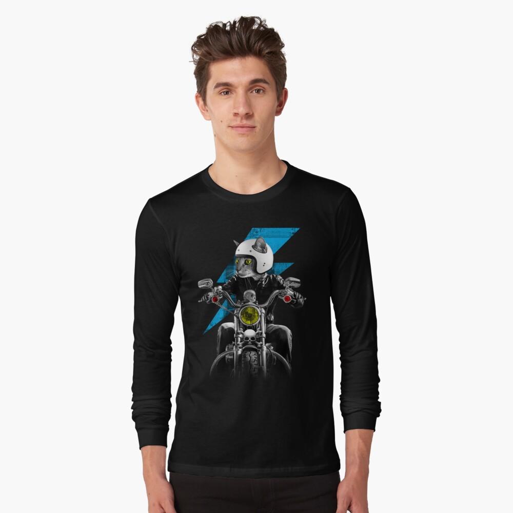 Biker Cat Long Sleeve T-Shirt Front