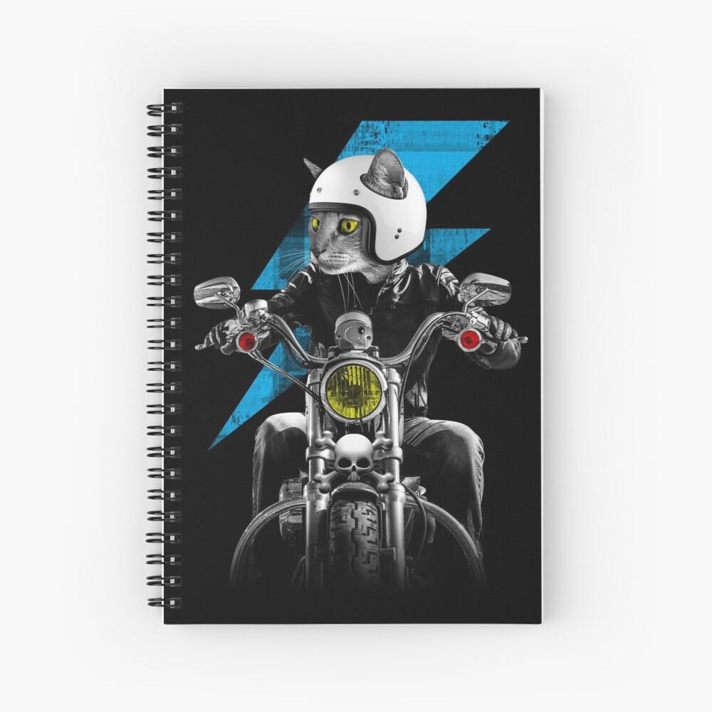Biker Cat Spiral Notebook