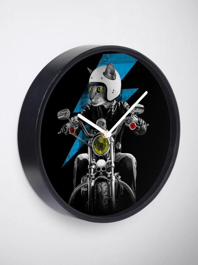Alternate view of Biker Cat Clock
