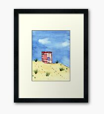 Hot Summer Day at the Beach Watercolor Painting Framed Print