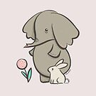 Hay fever - elephant and bunny rabbit by Zoe Lathey