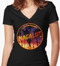Magaluf, Magaluf tshirt, Magaluf sticker, Spain, with palmtrees, black bg Women's Fitted V-Neck T-Shirt