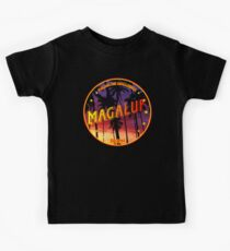 Magaluf, Magaluf tshirt, Magaluf sticker, Spain, with palmtrees, black bg Kids Tee