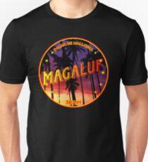 Magaluf, Magaluf tshirt, Magaluf sticker, Spain, with palmtrees, black bg Unisex T-Shirt