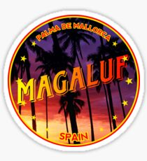Magaluf, Magaluf tshirt, Magaluf sticker, Spain, with palmtrees, black bg Sticker