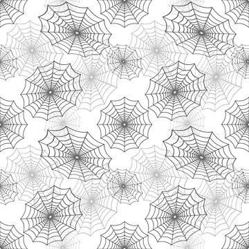 Dark Black Spider Web Cobweb Silk Pattern on White by Creepyhollow