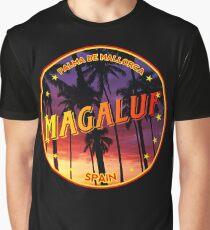 Magaluf, Magaluf tshirt, Magaluf sticker, Spain, with palmtrees, black bg Graphic T-Shirt