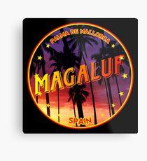 Magaluf, Magaluf tshirt, Magaluf sticker, Spain, with palmtrees, black bg Metal Print