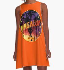Magaluf, Magaluf poster, tshirt, Spain, with palmtrees, orange bg A-Line Dress