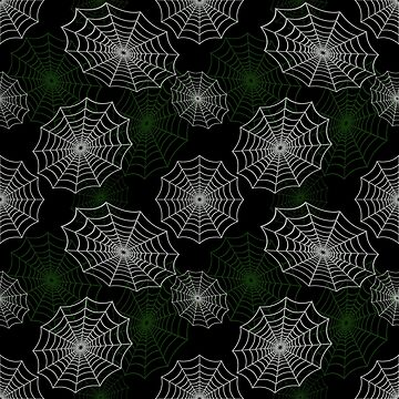 Green and White Spider Web Cobweb Silk Halloween Pattern on Dark Black by Creepyhollow