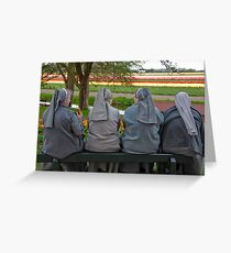 Nuns at Keukenhof Gardens Greeting Card
