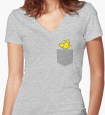 Woodstock in Pocket Sleeve  Women's Fitted V-Neck T-Shirt
