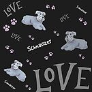 Schnauzer love on Black by Forestwood