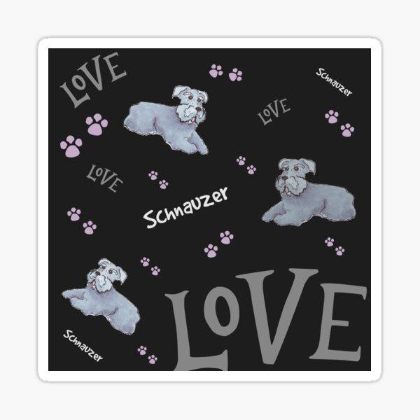 Schnauzer love on Black Sticker