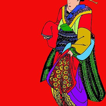 Bright Block Colors Geisha Asian Art by Greenbaby