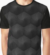 Black and White Abstract hexagonal background Dark geometric seamless pattern Graphic T-Shirt