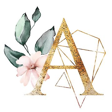 Floral Geometric Polygon Monogram A by junkydotcom