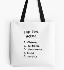 """Mary and Max """"Top Five Words."""" Tasche"""