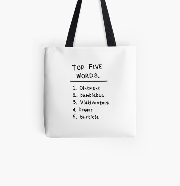 "Mary and Max ""Top Five Words."" All Over Print Tote Bag"