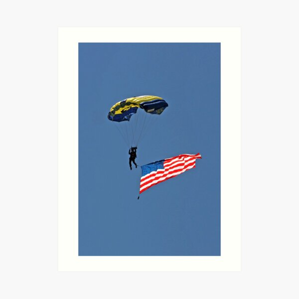 Parachuting with the Flag Art Print